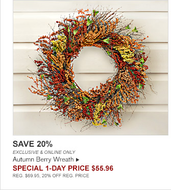 SAVE 20% -- EXCLUSIVE & ONLINE ONLY -- Autumn Berry Wreath -- SPECIAL 1-DAY Price $55.96 -- REG. $69.95, 20% OFF REG. PRICE