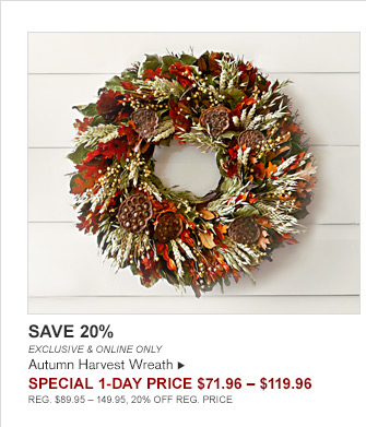 SAVE 20% - EXCLUSIVE & ONLINE ONLY - Autumn Harvest Wreath - SPECIAL 1-DAY Price $71.96 - $119.96 -- REG. $89.95 - 149.95, 20% OFF REG. PRICE