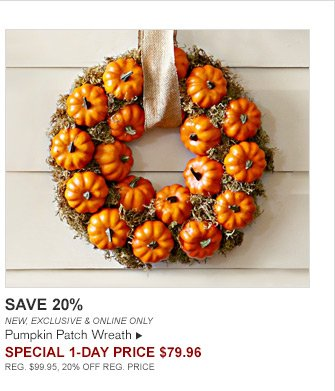 SAVE 20% -- NEW, EXCLUSIVE & ONLINE ONLY -- Pumpkin Patch Wreath -- SPECIAL 1-DAY Price $79.96 -- REG. $99.95, 20% OFF REG. PRICE