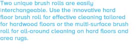 Two unique brush rolls are easily interchangeable. Use the innovative hard floor brush roll for effective cleaning tailored for hardwood floors or the multi-surface brush roll for all-around cleaning on hard floors and area rugs.