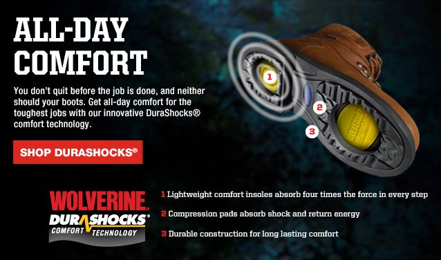 All-Day Comfort with Duraschocks. Lightweight, Shock Absorbing, Durable.