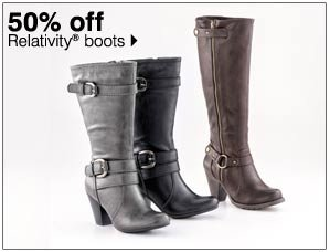 50% off Relativity® boots. Shop now.