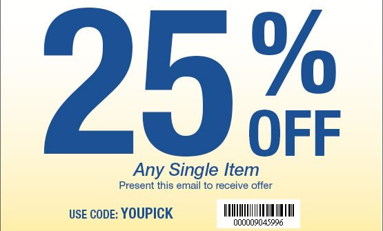 25% OFF any single item. Use Code: YOUPICK