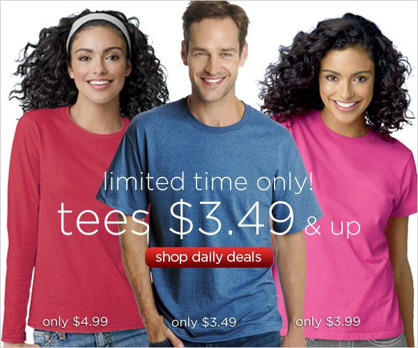 Tees as low as $3.49