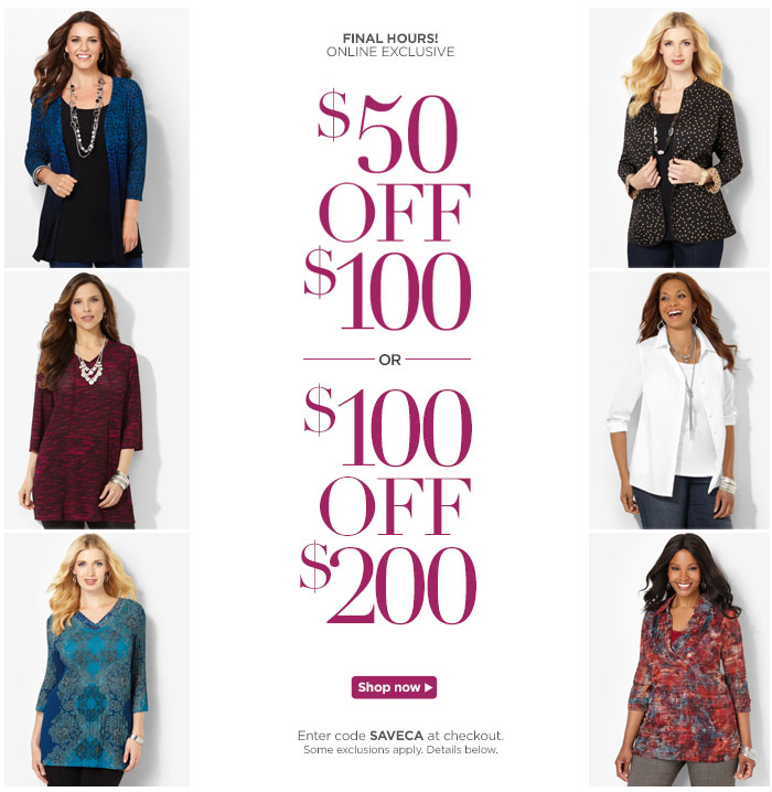 $50 off $100, $100 off $200