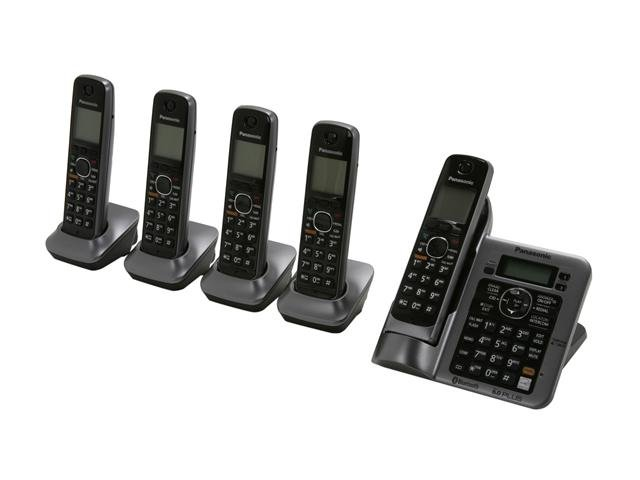 Panasonic KX-TG7645M 1.9 GHz Digital DECT 6.0 Link to Cell via Bluetooth Cordless Phone with Integrated Answering Machine and 5 Handsets