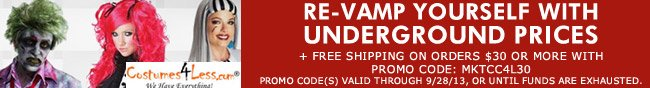 RE-VAMP YOURSELF WITH UNDERGROUND PRICE + FREE SHIPPING ON ORDERS $30 OR MORE WITH PROMO CODE: MKTCC4L30. PROMO CODE(S) VALID THROUGH 9/28/13, OR UNTIL FUNDS ARE EXHAUSTED.