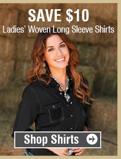 Save $10 On Ladies Woven Long Sleeve Shirts