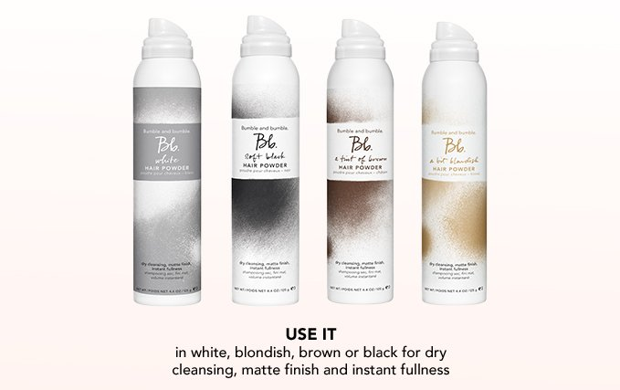 Use it in white, blondish, brown or black for dry cleansing, matte finish and instant fullness