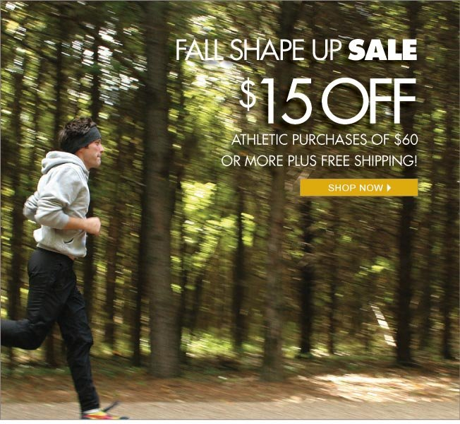 $15 off $60 on athletic purchases!