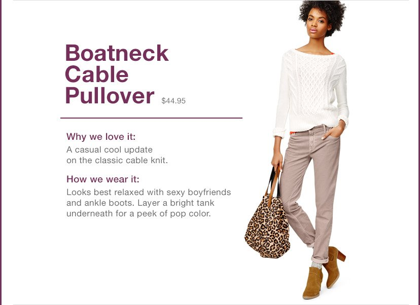 Boatneck Cable Pullover