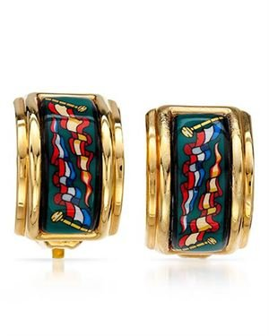 HERMES  Earrings Made Of Multicolor Enamel and Gold Plated Base Metal