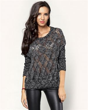 Nero Su Bianco Rhombus Pattern Knitted Sweater Made In Italy