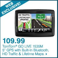 WEB EXCLUSIVE! 109.99 TomTom® GO LIVE 1535M 5-inch GPS with Built-In Bluetooth, HD Traffic & Lifetime Maps.