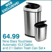 WEB EXCLUSIVE! 64.99 Nine Stars Touchless Automatic 13.2 Gallon and 2.1 Gallon Trash Can Set.