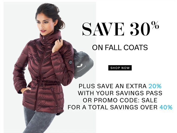 Save 30% on Fall Coats. Shop Now.