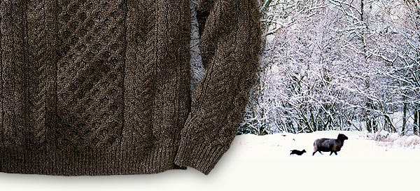 Made in Ireland, our Fisherman's Sweater is knitted from the undyed, naturally brownish-gray color of black sheep wool, combined with a bit of white wool for a distinctive, heathered color.