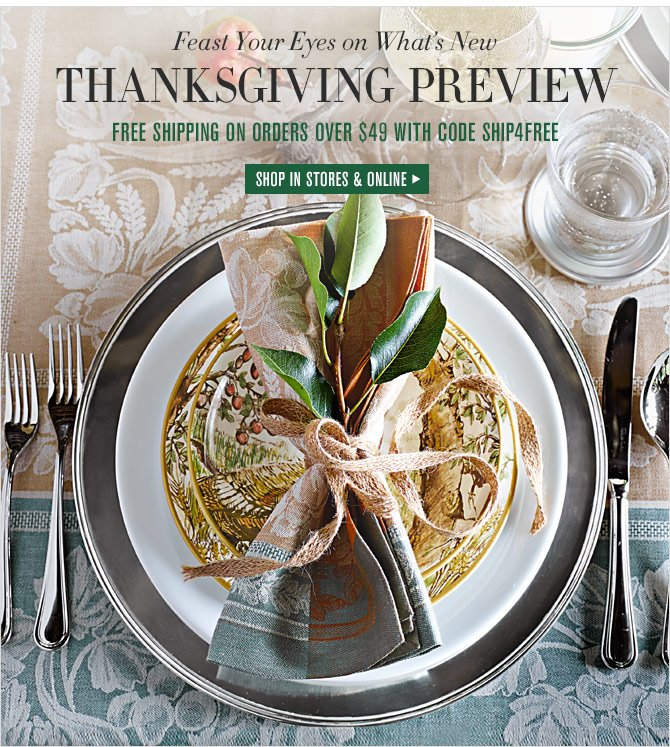 Feast Your Eyes on What's New -- THANKSGIVING PREVIEW - FREE SHIPPING ON ORDERS OVER $49 WITH CODE SHIP4FREE - SHOP IN STORES & ONLINE