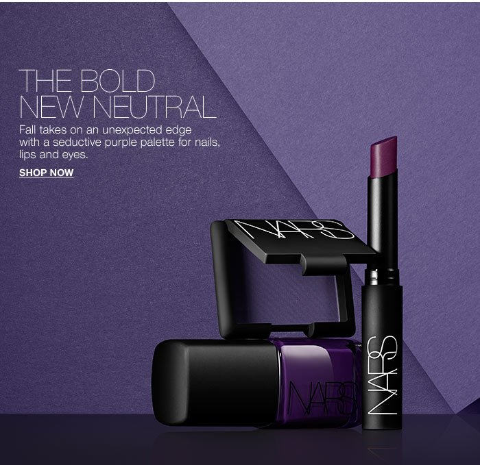 The Bold New Neutral: Fall takes on an unexpected edge with a seductive purple palette for nails, lips and eyes.