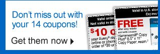 Do not  miss out with your 14 coupons.  Get them now.