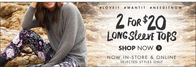 2 For $20 Women's Long Sleeve Tops!