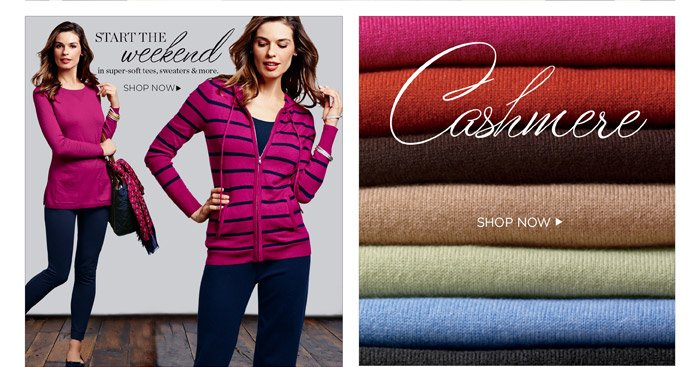 Talbots start the weekend in super-soft sweaters, tees and more. Shop cashmere sweaters.
