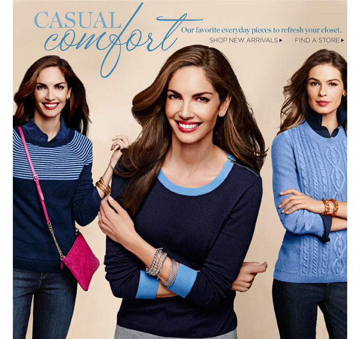 Talbots Casual comfort. Our favorite everyday pieces to refresh your closet. Shop new arrivals. Find a store.