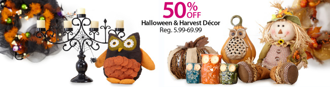 Up to 50% off Halloween and Harvest Decor