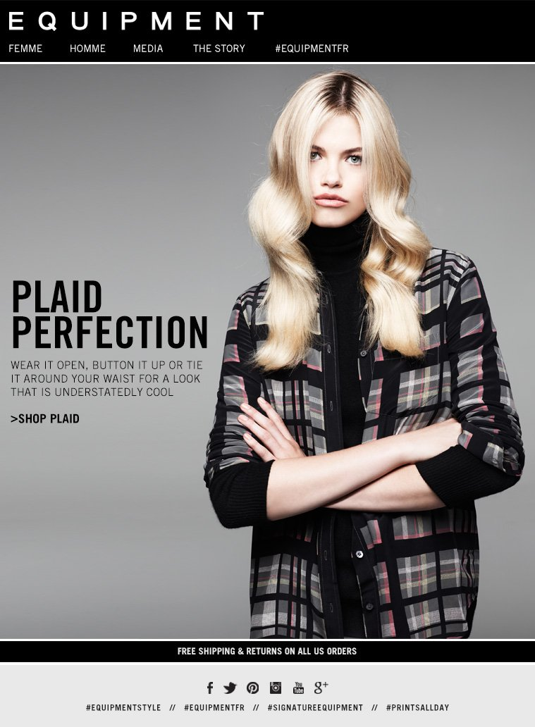EQUIPMENT | PLAID PERFECTION. WEAR IT OPEN, BUTTON IT UP OR TIE IT AROUND YOUR WAIST FOR A LOOK THAT IS UNDERSTATEDLY COOL. SHOP PLAID. FREE SHIPPING AND RETURNS ON ALL US ORDERS
