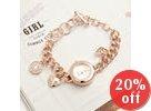 Rhinestone Charm-Accent Bracelet Watch