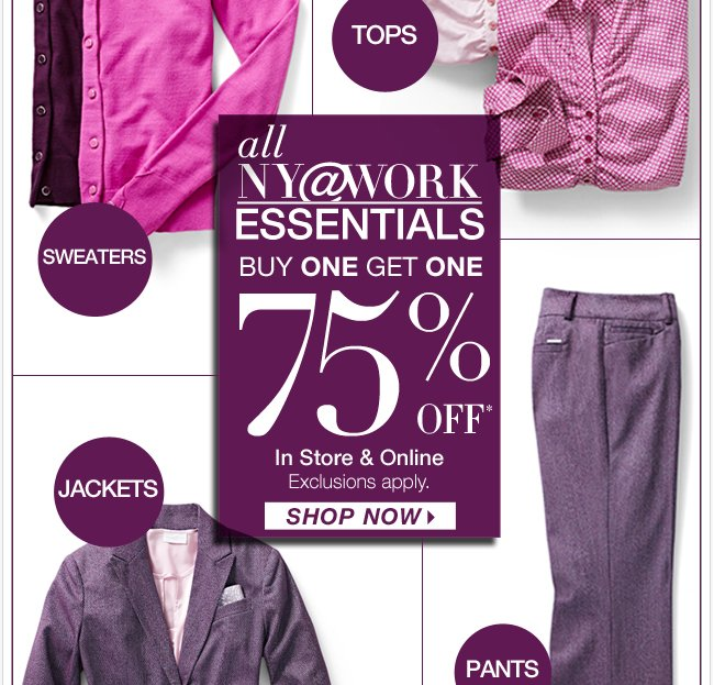 NY@Work Essentials are B1G1 75% off! Go Now!
