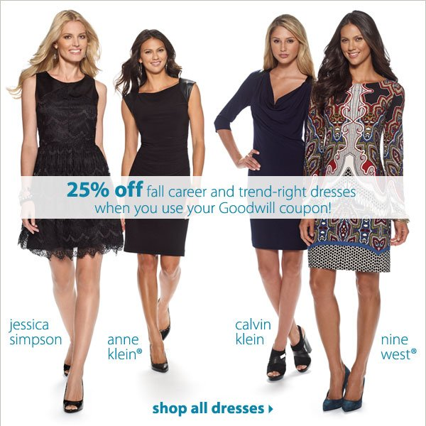 25% off fall career and trend-right dresses when you use your Goodwill coupon! Shop all dresses.