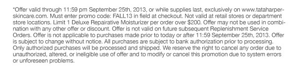 Offer valid until 11:59 pm 9/25/2013