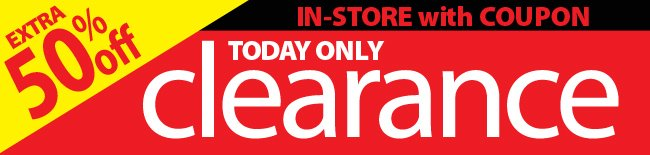 Extra 50% off In-Store Clearance