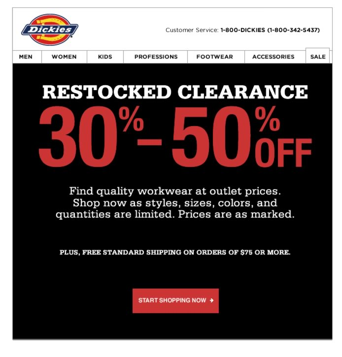 Restocked Clearance - 30% to 50% Off