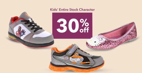 SHOP OUR ENTIRE STOCK KIDS' CHARACTER - 30% off