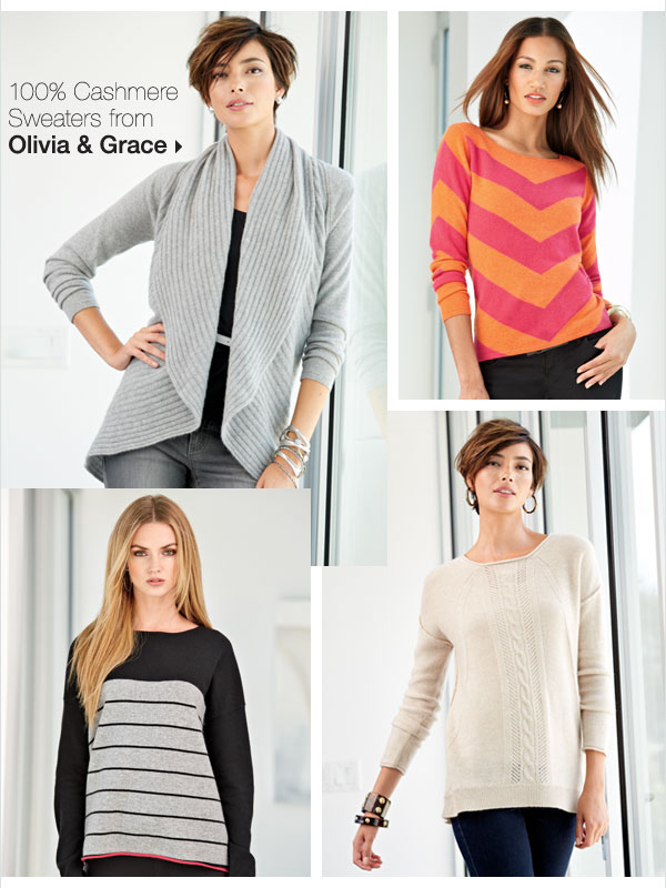 100% Cashmere Sweaters from Olivia & Grace.