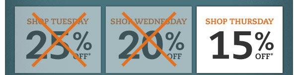 Shop Thursday: 15% OFF*