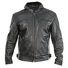 Xelement Men's Throttle Boss Black Leather Motorcycle Jacket with Hoodie