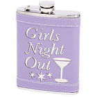 Girls Night Out Stainless Steel 8 oz. Flask with Lilac Genuine Leather Wrap