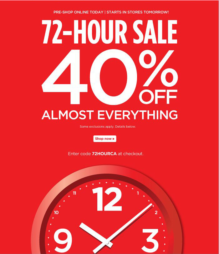 72-Hour Sale: Pre-Shop Online Today, In Stores Tomorrow!