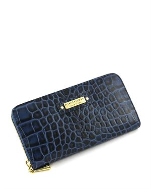 Plinio Visona Crocodile Embossed Leather Wallet Made in Italy