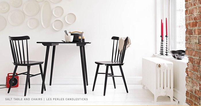 SALT TABLE AND CHAIRS | LES PERLES CANDLESTICKS