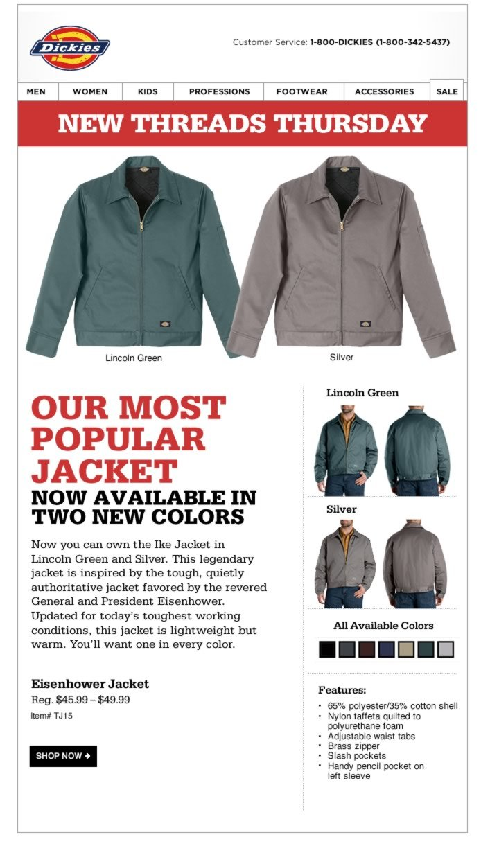 New Threads Thursday: New Colors Available - Eisenhower Jacket