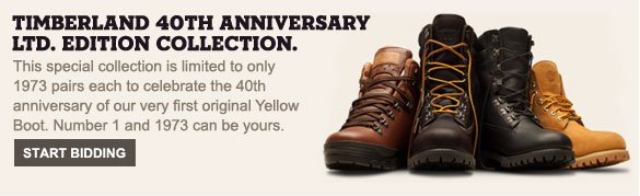 Timberland 40th Anniversary LTD. Edition Collection. This special collection is limited to only 1973 pairs each to celebrate the 40th anniversary of our very first original Yellow Boot. Number 1 and 1973 can be yours. Start Bidding.