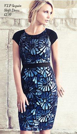 V I P Sequin Shift Dress