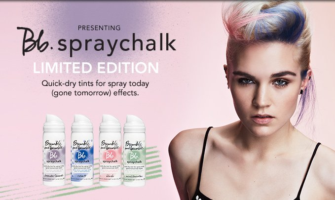 presenting Bb.Spraychalk  LIMITED EDITION Quick-dry tints for spray today (gone tomorrow) effects.