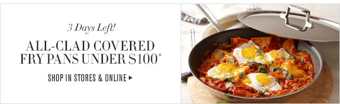 3 Days Left! - ALL-CLAD COVERED FRY PANS UNDER $100* - SHOP IN STORES & ONLINE