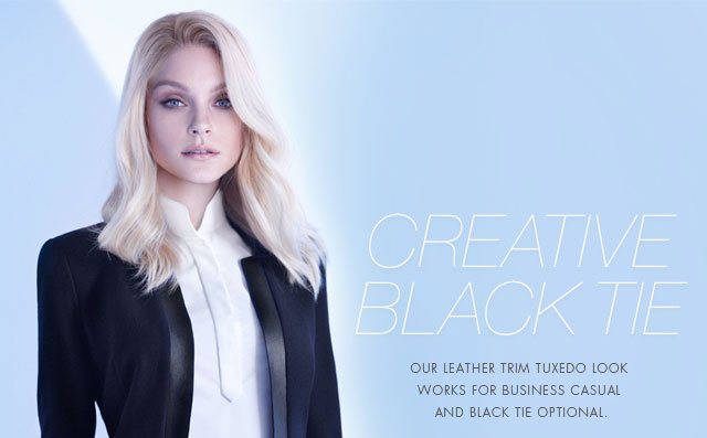 Creative Black Tie | Our leather trim tuxedo look works for business casual and black tie optional.