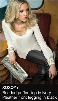 XOXO娨 beaded puffed top in ivory, pleather front legging in black. Shop now.